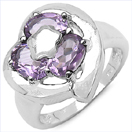 2.55CTW Genuine Amethyst .925 Sterling Silver Ring