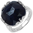 19.50CTW Genuine Dyed Black Sapphire .925 Sterling Silver Ring