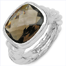 7.67CTW Genuine Smoky Topaz .925 Sterling Silver Ring