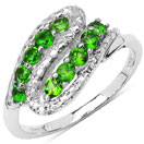 0.50CTW Genuine Chrome Diopside .925 Sterling Silver Ring