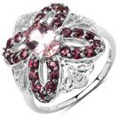 1.97CTW Genuine Morganite & Rhodolite .925 Sterling Silver Ring