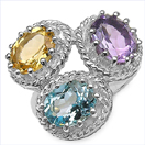 6.10CTW Multi Gemstone .925 Sterling Silver Ring