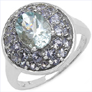 2.00CTW Genuine Aquamarine &Tanzanite .925 Sterling Silver Ring
