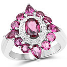 3.07CTW Genuine Rhodolite .925 Sterling Silver Cocktail Ring
