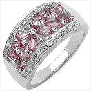 1.44CTW Genuine Pink Tourmaline .925 Sterling Silver Ring