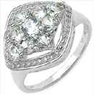 0.93CTW Genuine Aquamarine .925 Sterling Silver Ring