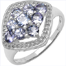 0.99CTW Genuine Tanzanite .925 Sterling Silver Ring