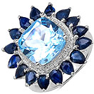 8.10CTW Genuine Blue Topaz & Blue Sapphire .925 Sterling Silver Ring
