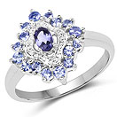 0.80CTW Genuine Iolite & Tanzanite .925 Sterling Silver Cocktail Ring