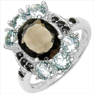 """4.70CTW Genuine Smoky Topaz, Blue Topaz & Sapphire .925 Sterling Silver Ring"""
