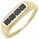 0.48CTW Genuine Black Diamond .925 Sterling Silver Gold Plated Ring