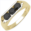 0.99CTW Genuine Black Diamond .925 Sterling Silver Gold Plated Ring