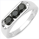 0.99CTW Genuine Black Diamond .925 Sterling Silver Ring