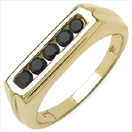 0.40CTW Genuine Black Diamond .925 Sterling Silver Gold Plated Ring