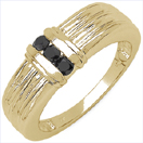0.24CTW Genuine Black Diamond .925 Sterling Silver Gold Plated Ring