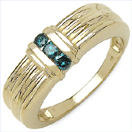 0.24CTW Genuine Blue Diamond .925 Sterling Silver Gold Plated Ring
