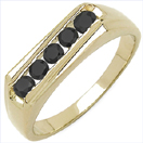 0.35CTW Genuine Black Diamond .925 Sterling Silver Gold Plated Ring
