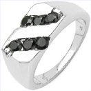 0.60CTW Genuine Black Diamond .925 Sterling Silver Ring