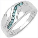 0.27CTW Genuine Blue Diamond .925 Sterling Silver Ring