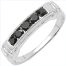 0.50CTW Genuine Black Diamond .925 Sterling Silver Ring