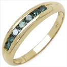 0.35CTW Genuine Blue Diamond .925 Sterling Silver Gold Plated Ring