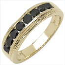 0.88CTW Genuine Black Diamond 14K Yellow Gold Plated .925 Sterling Silver Ring