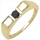 0.25CTW Genuine Black Diamond .925 Sterling Silver Gold Plated Ring
