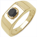 0.50CTW Genuine Black Diamond .925 Sterling Silver Gold Plated Ring