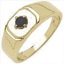 0.16CTW Genuine Black Diamond .925 Sterling Silver Gold Plated Ring