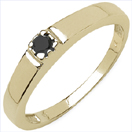 0.12CTW Genuine Black Diamond .925 Sterling Silver Gold Plated Ring