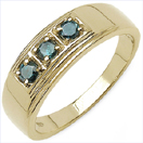 0.33CTW Genuine Blue Diamond .925 Sterling Silver Gold Plated Ring