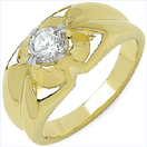 1.10CTW Genuine White Cubic Zircon .925 Sterling Silver Gold Plating Ring