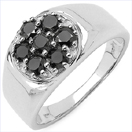 0.98CTW Genuine Black Diamond .925 Sterling Silver Ring