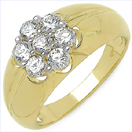2.00CTW Genuine White Cubic Zircon .925 Sterling Silver Gold Plating Ring
