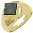 2.06CTW Onyx & White Cubic Zircon .925 Sterling Silver Gold Plated Ring