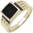 0.61CTW Genuine Black Diamond & Onyx .925 Sterling Silver Gold Plated Ring