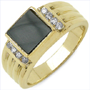 2.28CTW Onyx & White Cubic Zircon .925 Sterling Silver Gold Plated Ring
