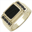 0.67CTW Genuine Black Diamond & Onyx .925 Sterling Silver Gold Plated Ring