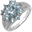 1.73CTW Genuine Aquamarine .925 Sterling Silver Ring