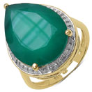 10.30CTW Genuine Green Onyx 14K Yellow Gold Plated .925 Sterling Silver Ring