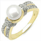 2.27CTW Genuine Pearl & White Cubic Zircon .925 Sterling Silver Gold Plating Ring