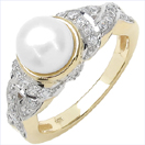 2.91CTW Genuine Pearl & White Cubic Zircon .925 Sterling Silver Gold Plating Ring