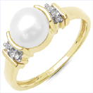 2.09CTW Genuine Pearl & White Cubic Zircon .925 Sterling Silver Gold Plating Ring