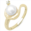 2.00CTW Genuine Pearl & White Cubic Zircon .925 Sterling Silver Gold Plating Ring