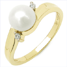 1.22CTW Genuine Pearl & White Cubic Zircon .925 Sterling Silver Gold Plating Ring