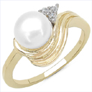 2.71CTW Genuine Pearl & White Cubic Zircon .925 Sterling Silver Gold Plating Ring