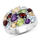 4.67CTW Multi Gemstones .925 Sterling Silver Ring