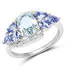 2.11CTW Genuine Aquamarine & Tanzanite .925 Sterling Silver Cocktail Ring