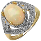 2.00CTW Genuine Ethiopian Opal & White Topaz.925 Sterling Silver 14K Yellow Gold Plated Ring