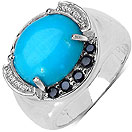 4.58CTW Genuine Turquoise & Black Spinel .925 Sterling Silver Ring